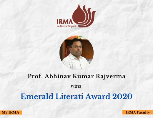 Prof. Abhinav Rajverma conferred the Emerald Literati Award 2020