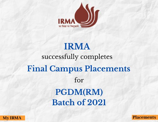 IRMA completes Campus Placements for Batch of 2021